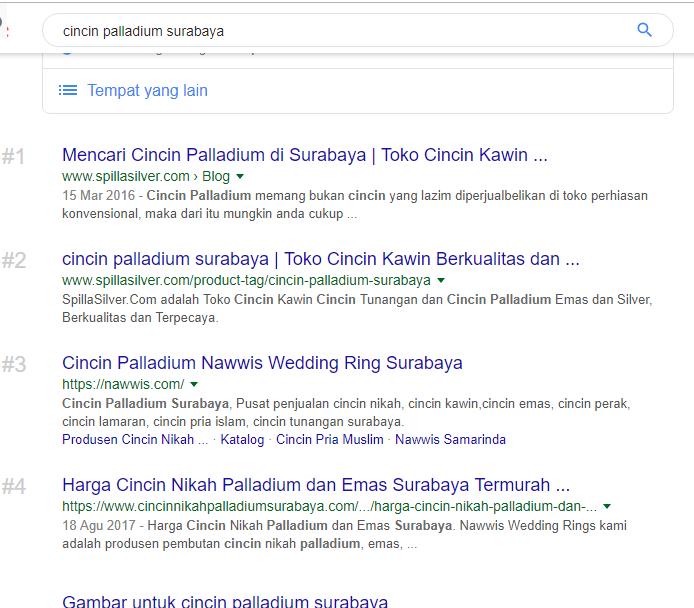 Hasil Optimasi Jasa SEO Surabaya website BOLO Solutions Cincin Palladium Surabaya