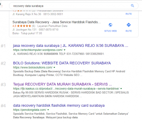 Hasil Optimasi Jasa SEO Surabaya website BOLO Solutions Recovery data Surabaya