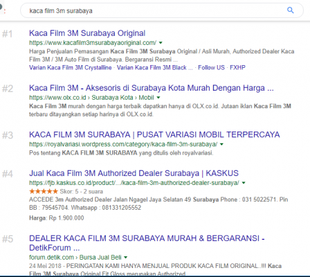 Hasil Optimasi Jasa SEO Surabaya website kaca film 3m Surabaya